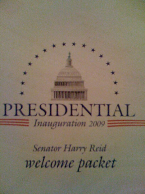The official Welcome Packet for the Inauguration From Senator Harry Reid
